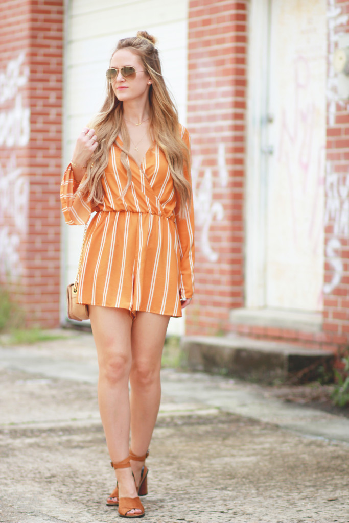 Mustard striped romper, Mango sandals, Ray Ban aviators
