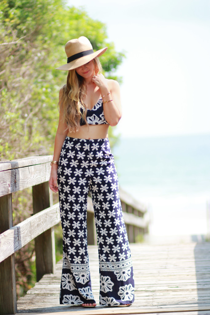 floral co ord pant set, sole society floppy hat