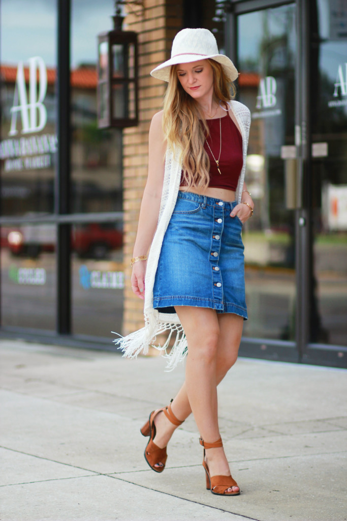 pleione fringe vest and H&M Denim skirt