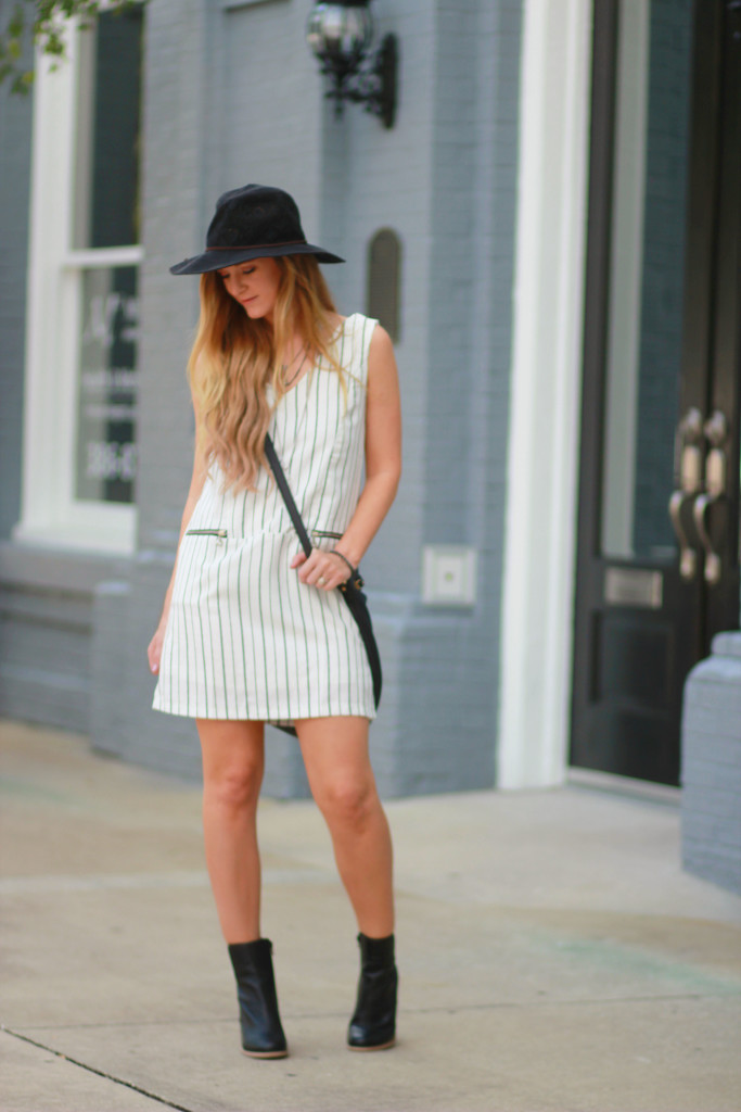 Choies black and white striped shift dress, Sole Society black booties