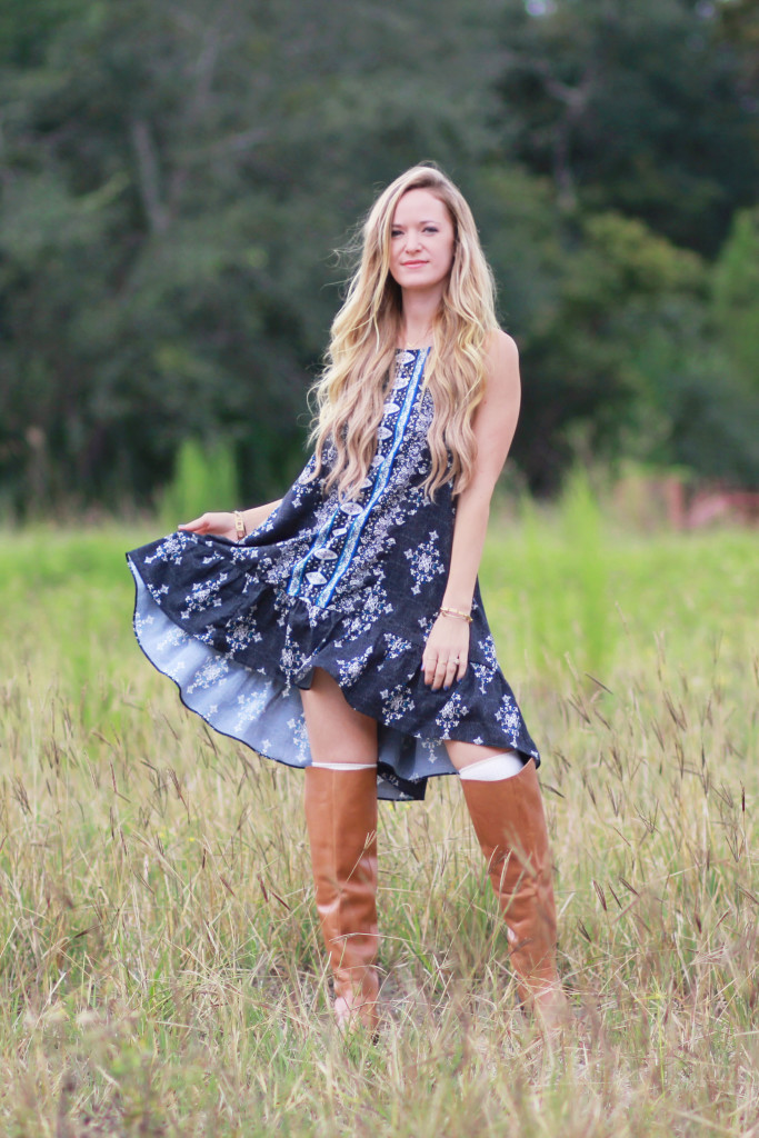 Fall boho dress, Sole Society over the knee boots