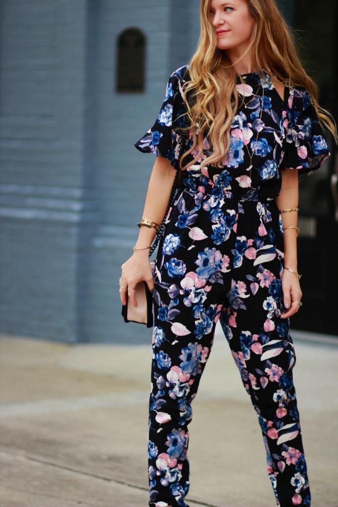 Fall floral jumpsuit, Rebecca Minkoff Love crossbody