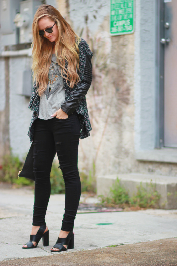 Hand in Pocket knit and leather jacket, DSTLD Jeans, Ray Ban clubmasters