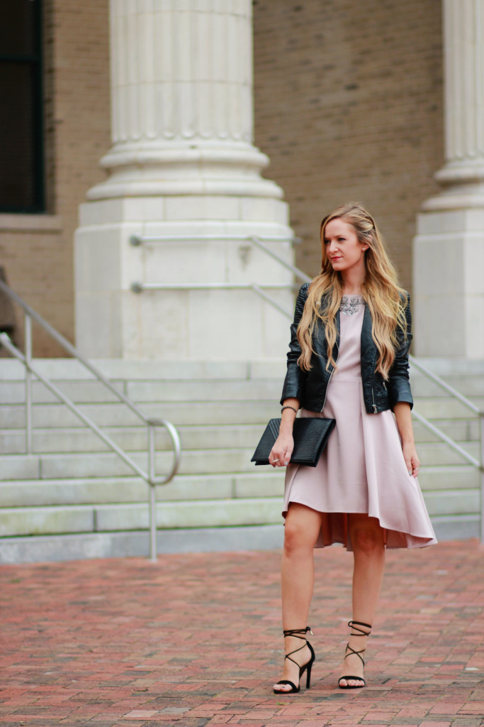 Little mistress mink dress, H&M leather jacket, Steve Madden lace up heels