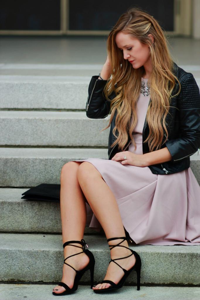 Little mistress mink dress, H&M leather jacket, Steve Madden lace up heels