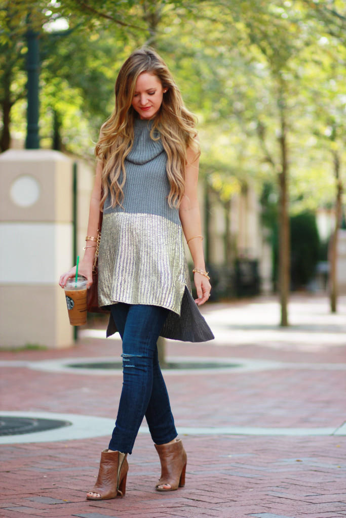 Hand in Pocket metallic sweater and DSTLD distressed jeans