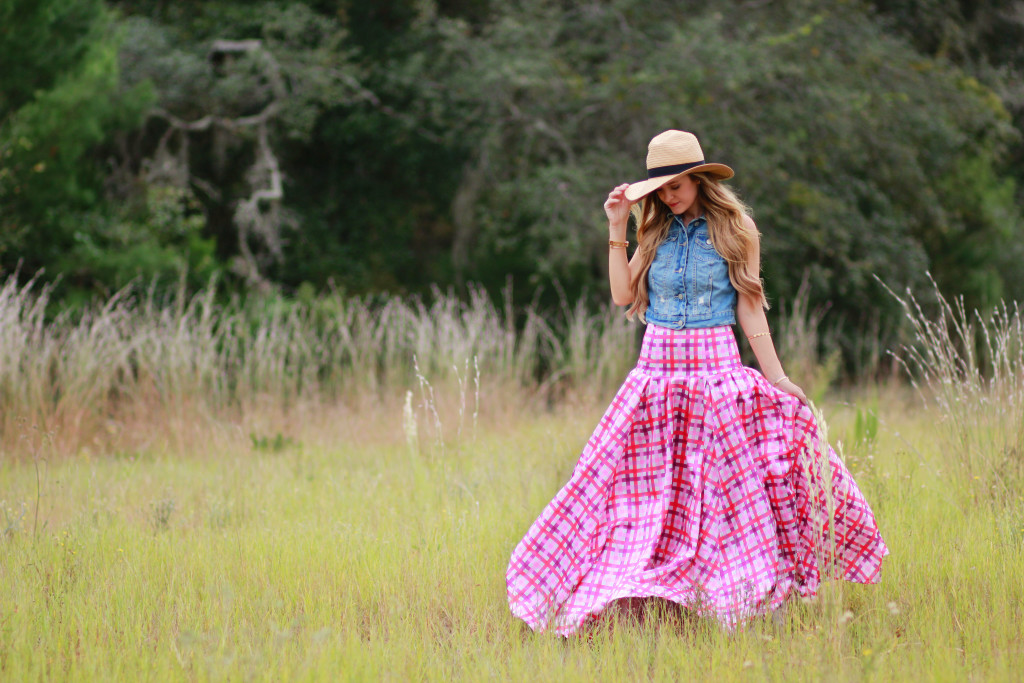 Shabby Apple pink maxi dress, Aeropostale denim vest