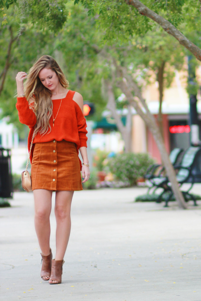suede button down skirt and rust sweater