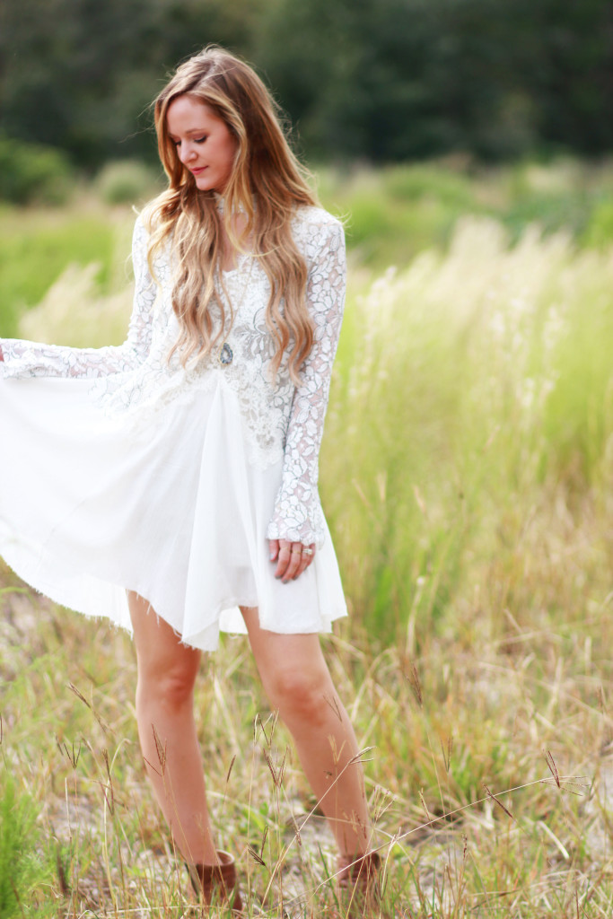 boho white lace dress and brown open toe booties