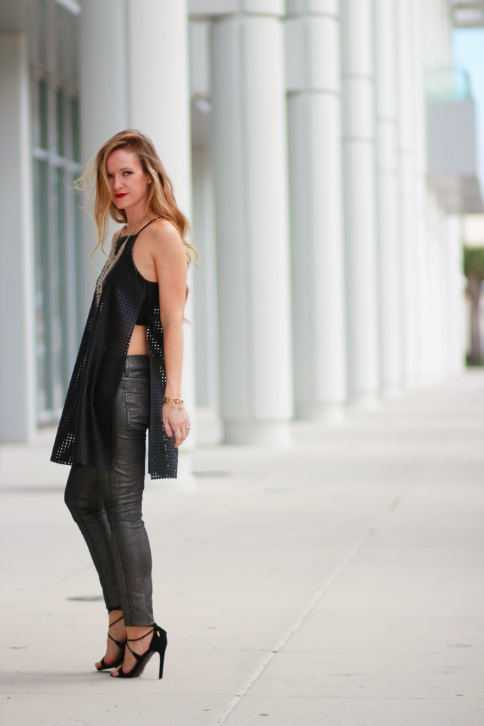 BCBG leather tunic and metallic jeans