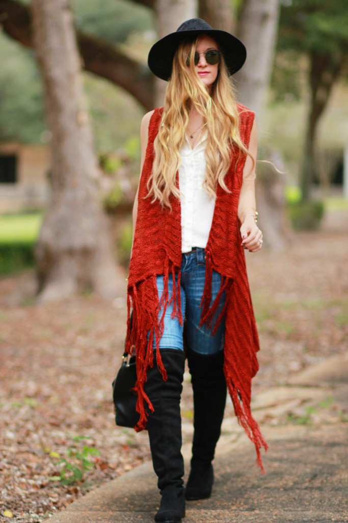 Rust fringe cardigan, black cheap over the knee boots