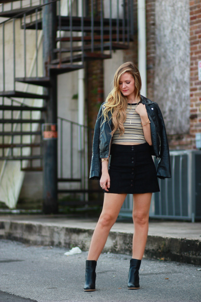 black suede button up skirt, Forever 21 leather jacket, Edgy Fall outfit