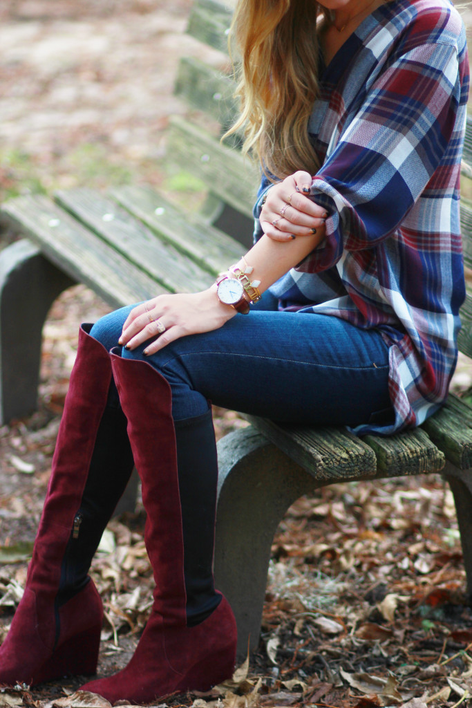 fall plaid shirt and burgundy over the knee boots