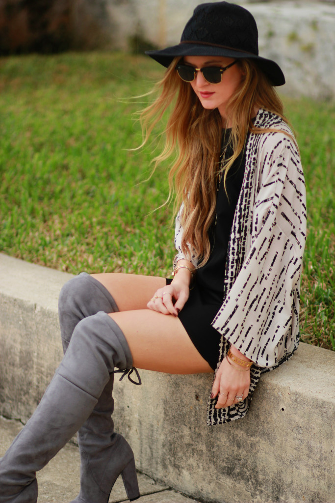 Grey over the Knee Boots, Clubmaster sunglasses, PinkBlush cardigan, Fall outfit