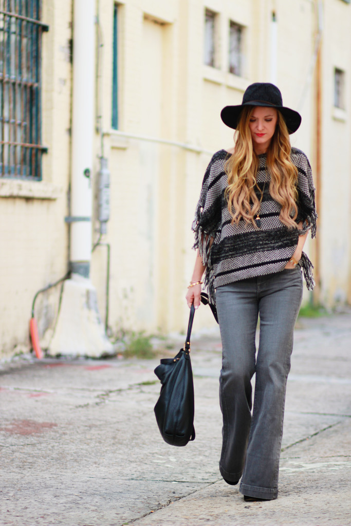 Lucky Brand Poncho, Grey flared jeans, Cozy fall outfit