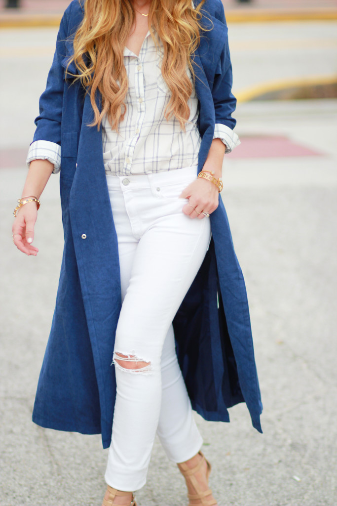Shein Navy coat, white distressed jeans, chic work outfit