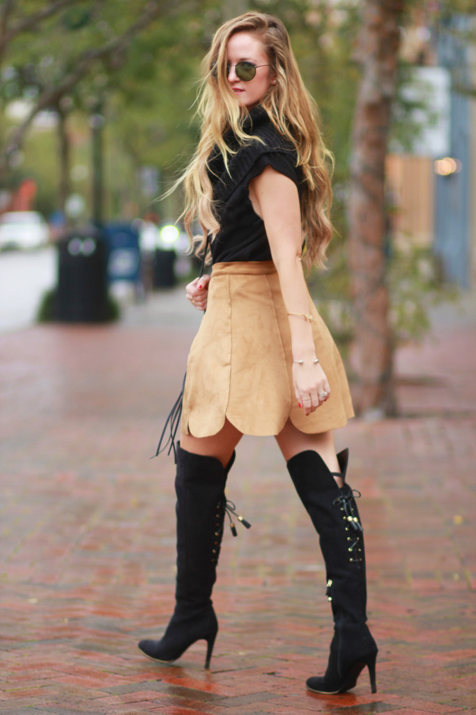 Button up suede skirt, Target black over the knee boots, Round Ray Ban sunglasses