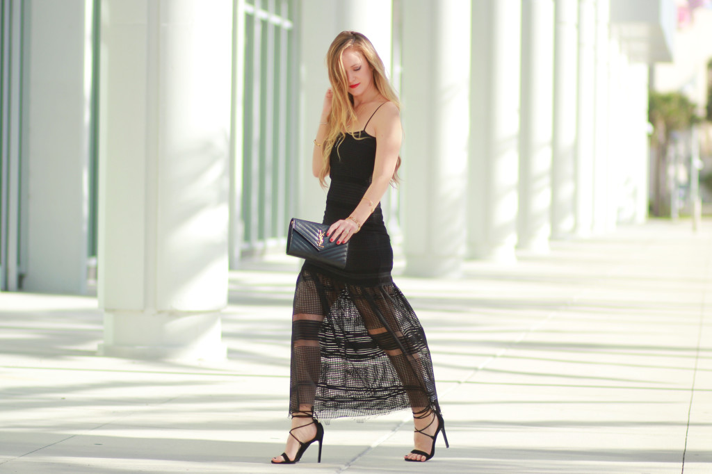 French connection black lace dress and Black YSL matelasse bag