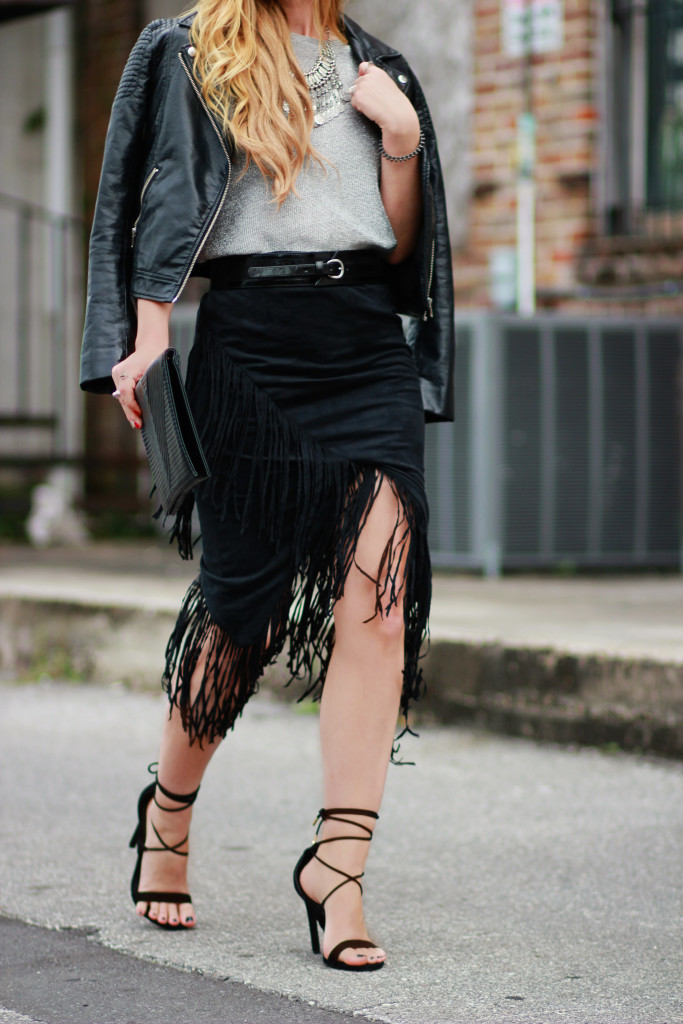 black suede fringe skirt, h&m leather jacket, steve madden lace up heels