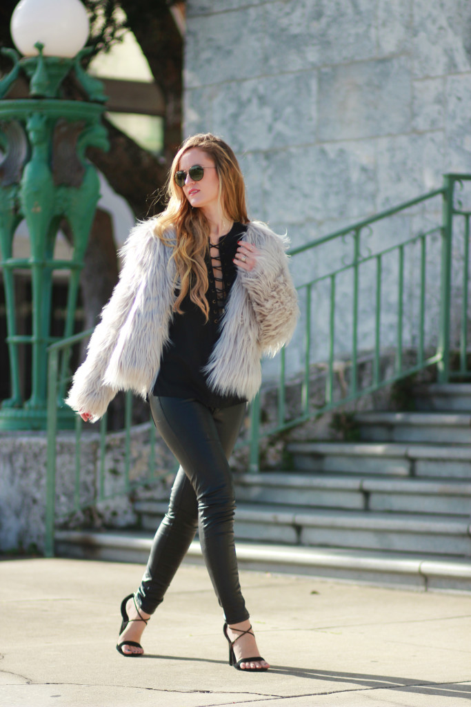 Chicwish Gray fur coat, H&M leather pants, and Ray Ban round metal sunglasses