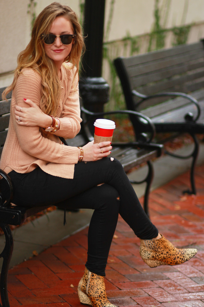 Shein lace up sweater with DSTLD black distressed jeans, Matisse nugent booties, and Ray Ban clubmaster sunglasses
