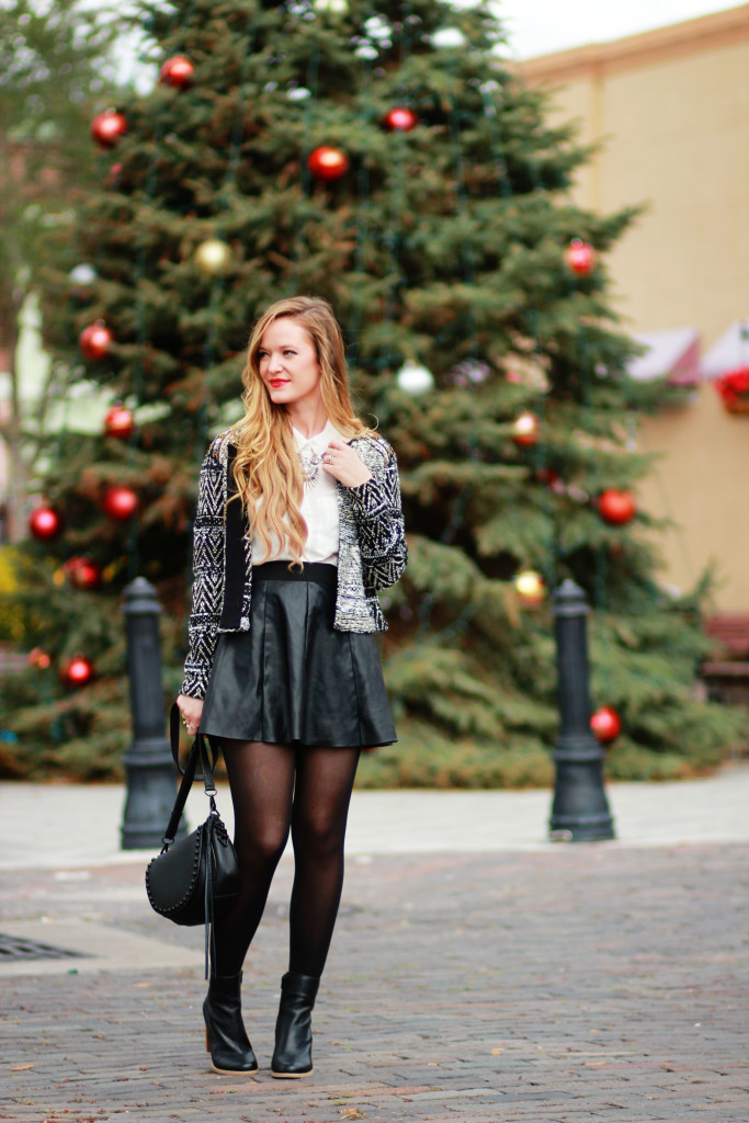 H&M Christmas sweater, leather skater skirt, Rebecca Minkoff saddle bag, Christmas Day Outfit