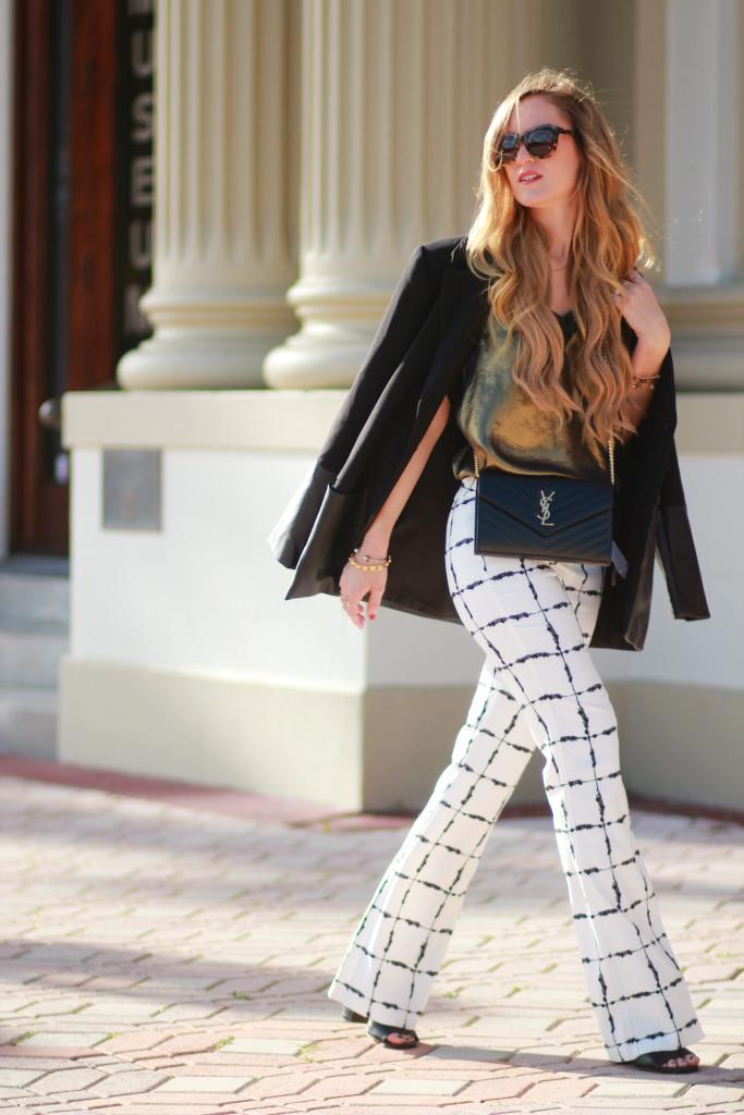 BCBGeneration windowpane pants, Karen Walker number one sunglasses, YSL monogram crossbody