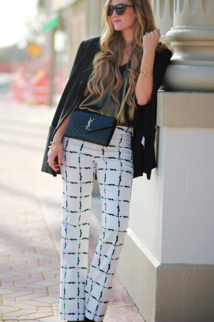 BCBGeneration windowpane pants, Karen Walker number one sunglasses, YSL monogram crossbody