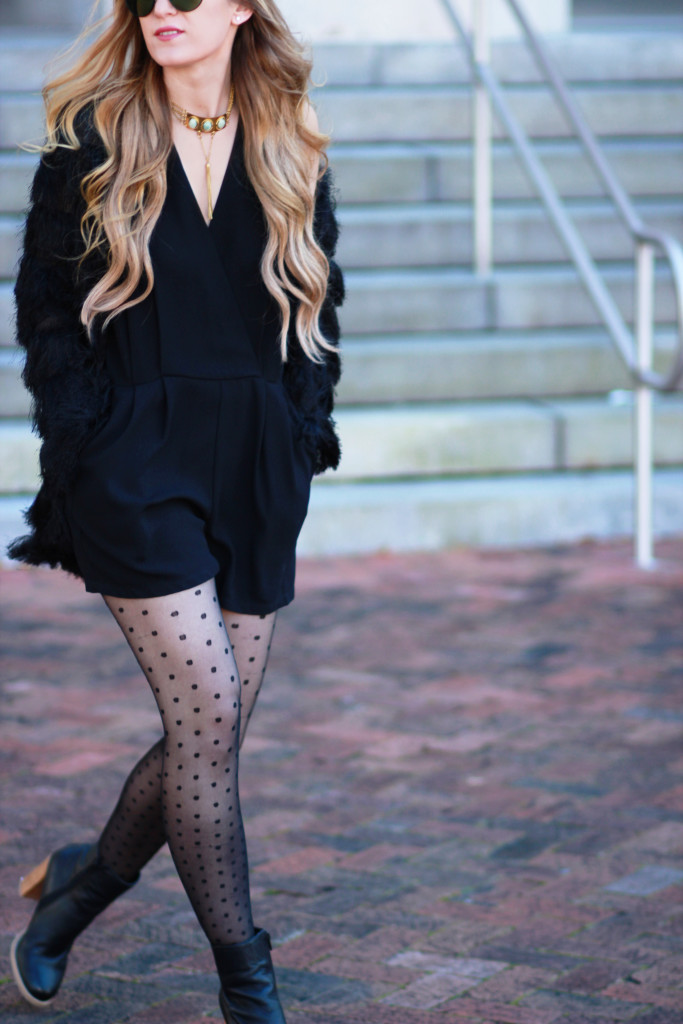 Black fur coat, black classic romper, polka dotted tights, from st xavier necklace, edgy winter outfit