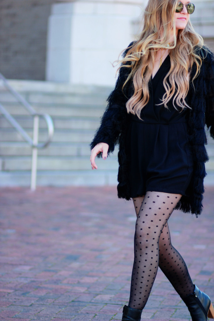 Black fur coat, black classic romper, polka dotted tights, from xavier necklace, edgy winter outfit