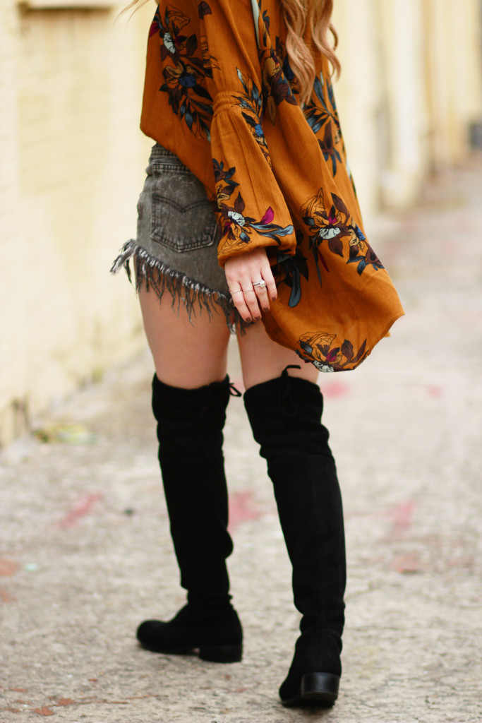 floral boho chicwish tunic, cheap black over the knee boots, metal round ray bans