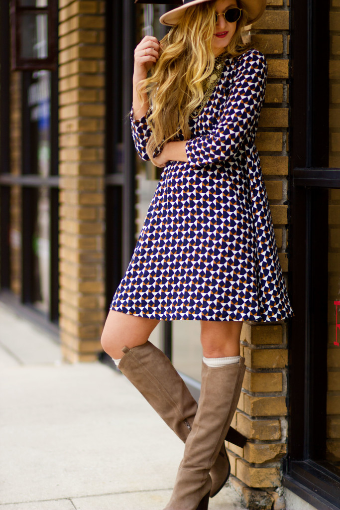 H&M patterned dress, Dolce Vita suede boots, and Ray Ban round sunglasses