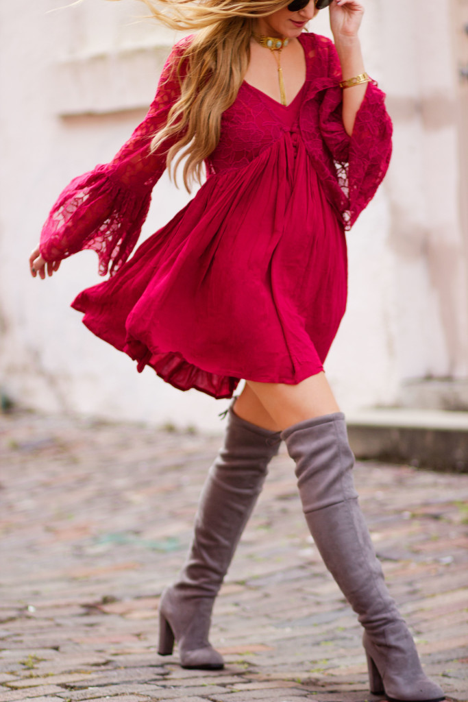 Free People with love dress, grey over the knee boots, Ray Ban round metal sunglasses