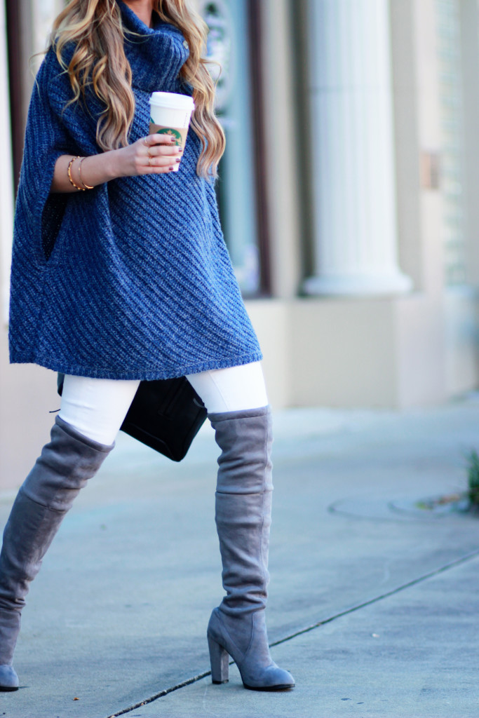 Banana Republic turtleneck poncho, gray over the knee boots, and round Ray Ban sunglasses