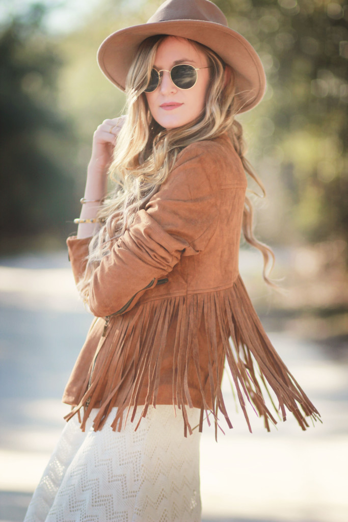 PinkBlush suede fringe jacket, lace high low dress, Matisse nugent booties, Ray Ban round metal sunglasses