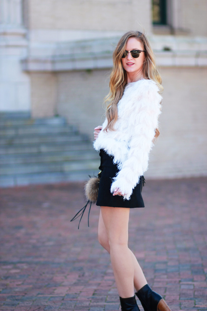 Orlando Florida fashion blogger styles faux fur top with suede button down skirt, Rebecca Minkoff saddle bag, and clubmaster sunglasses for a casual Spring outfit