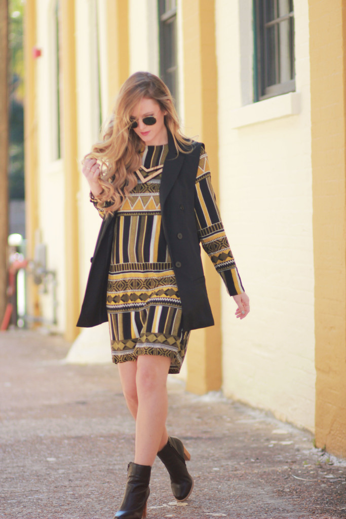 H&M Geometric shift dress, blazer vest, metal round Ray Bans, edgy spring outfit