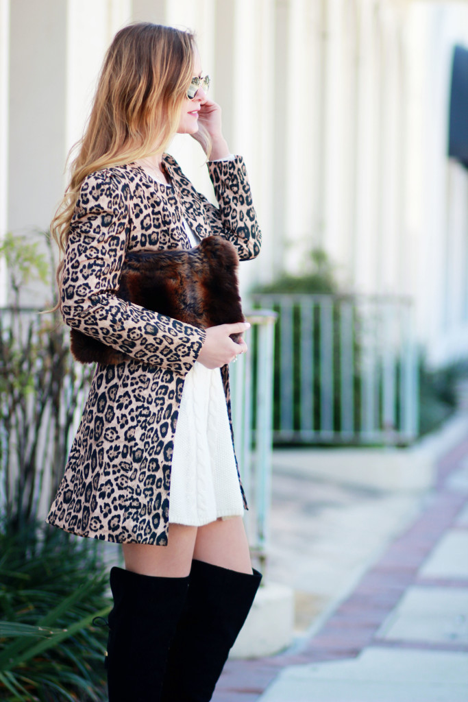 Leopard trench coat, cable knit sweater dress and Target black over the knee boots