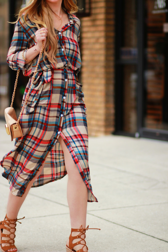 Midi plaid dress, Dolce Vita lace up sandals, Badgley Mischka crossbody