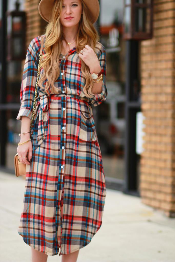 Midi plaid dress, Dolce Vita lace up sandals, Badgley Mischka crossbody