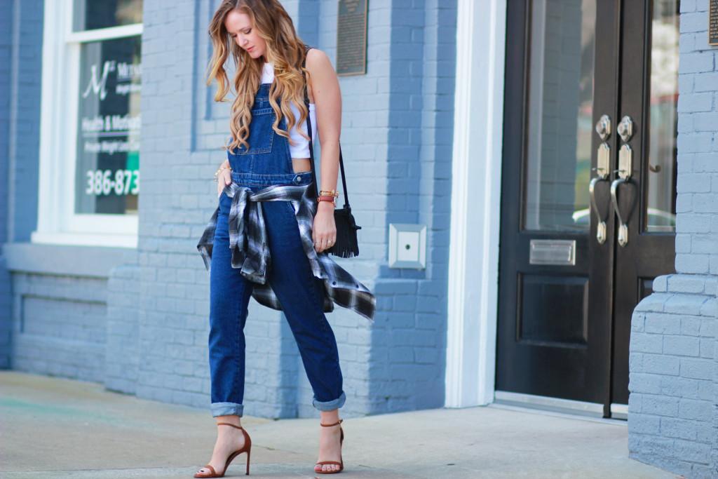 TopShop denim overall outfit, Stuart Weitzman barebraid sandals, Rebecca Minkoff Lexi bag