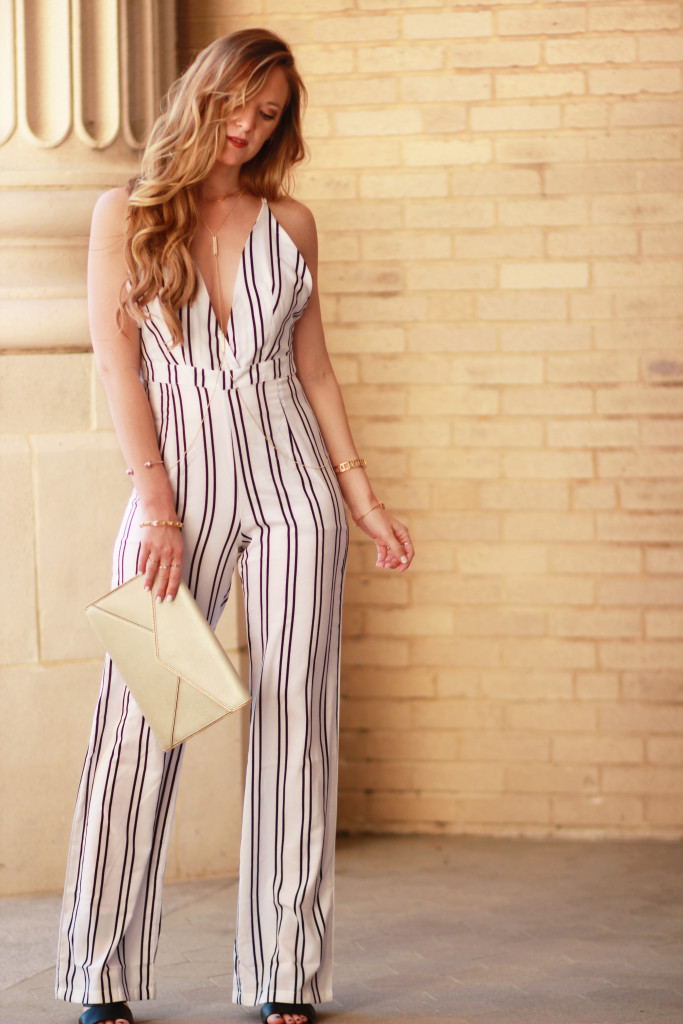Florida fashin blog styles Tobi striped jumpsuit, Kendra Scott James body chain, Rebecca Minkoff envelop clutch