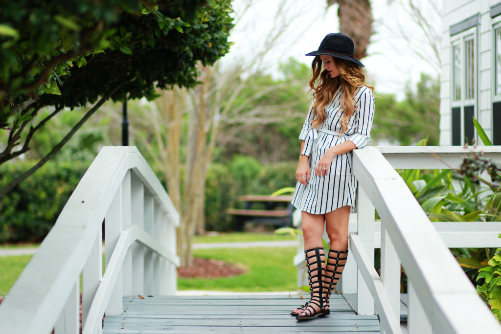 Orlando Florida fashion blogger styles Cupcakes and Cashmere shirt dress, Stuart Weitzman gladiator sandals, Rebecca Minkoff saddle bag, and Alexandra Gioia dreamcatcher necklace