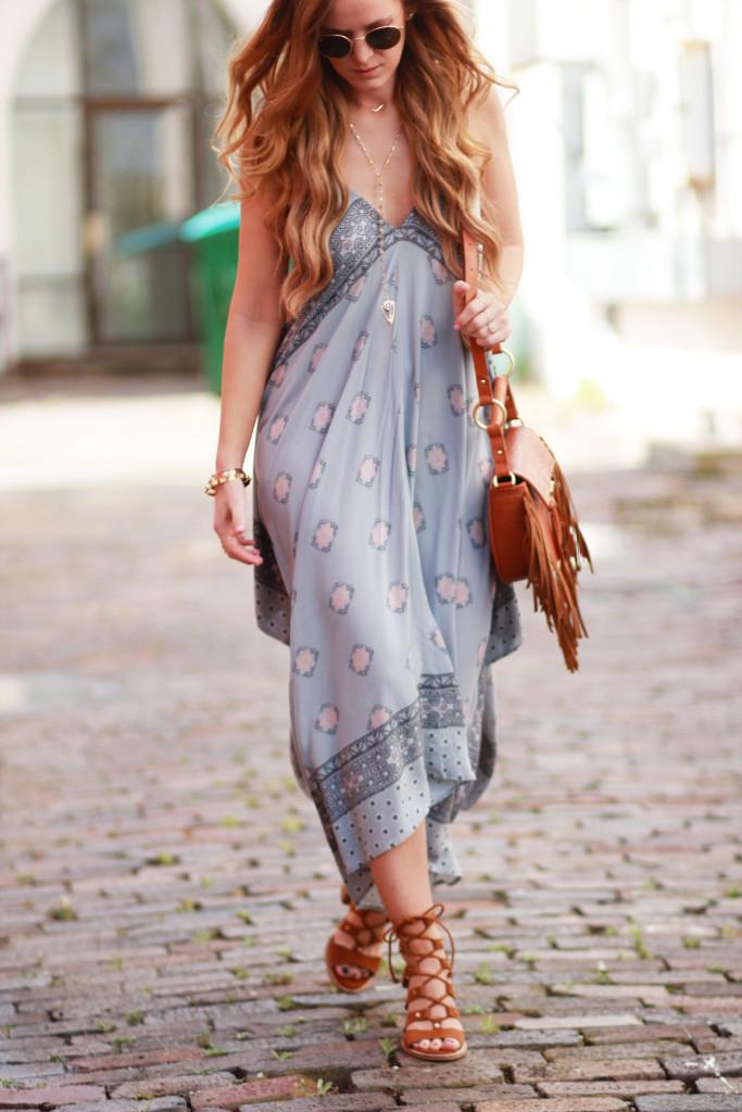 Orlando Florida fashion blog styles Aeropostale handkerchief dress, Dolce Vita Lyndon lace up sandals, Sancia Babylon bag, and Ray Ban round sunglasses