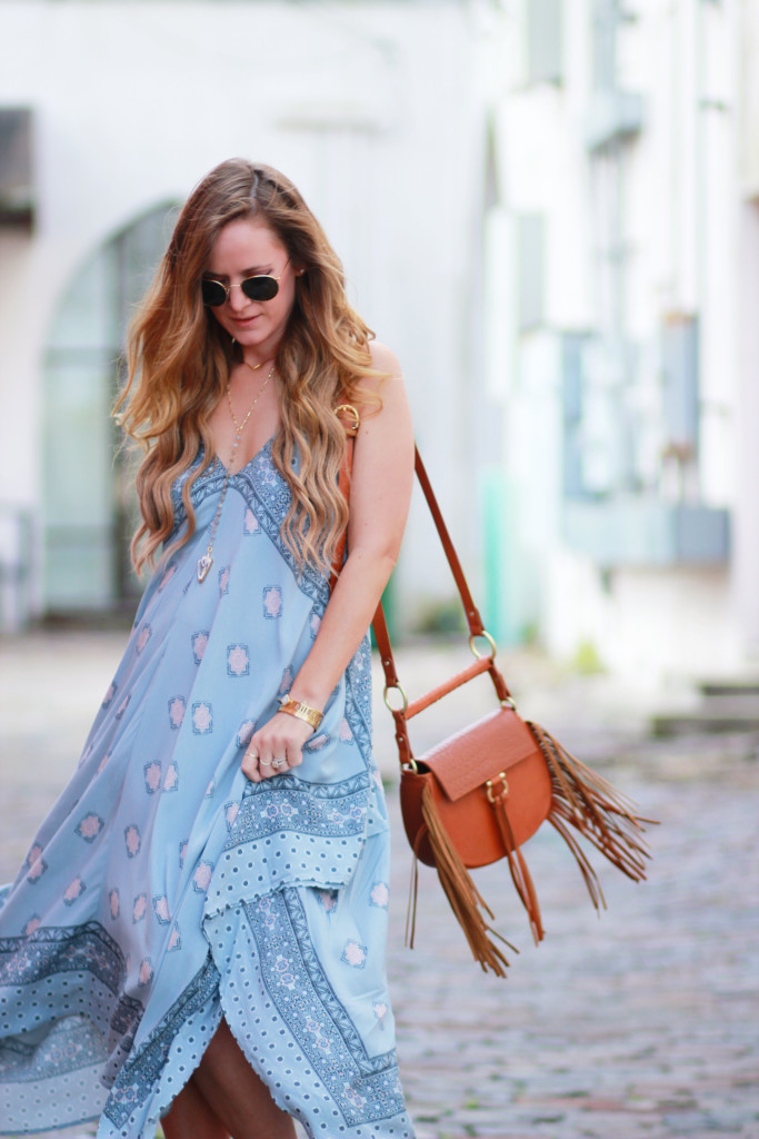 Orlando Florida fashion blog styles Aeropostale handkerchief dress, Dolce Vita Lyndon lace up sandals, Sancia Babylon bag, and Ray Ban round sunglasses