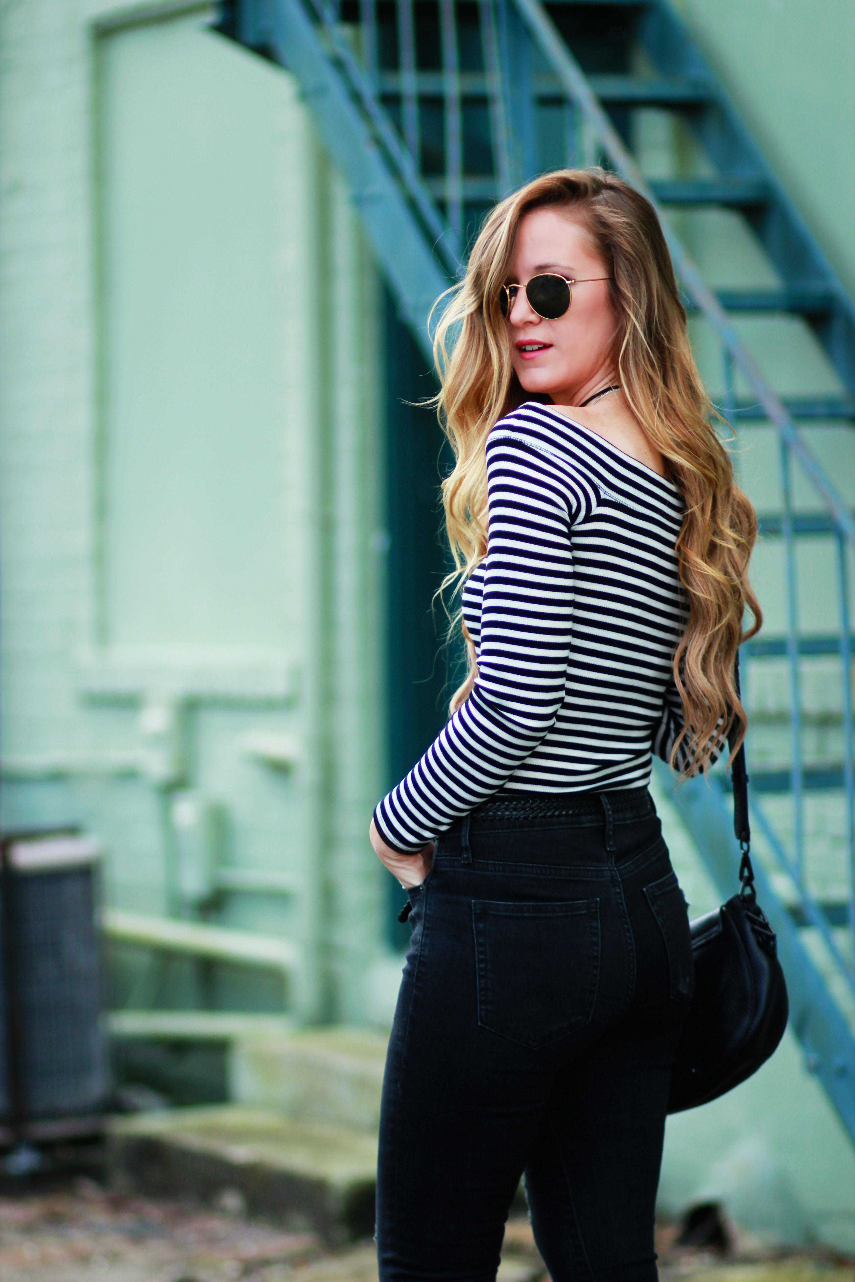 27da5501ee3 Orlando Florida fashion blogger styles Hollister off the shoulder top, Gap  flared black jeans,