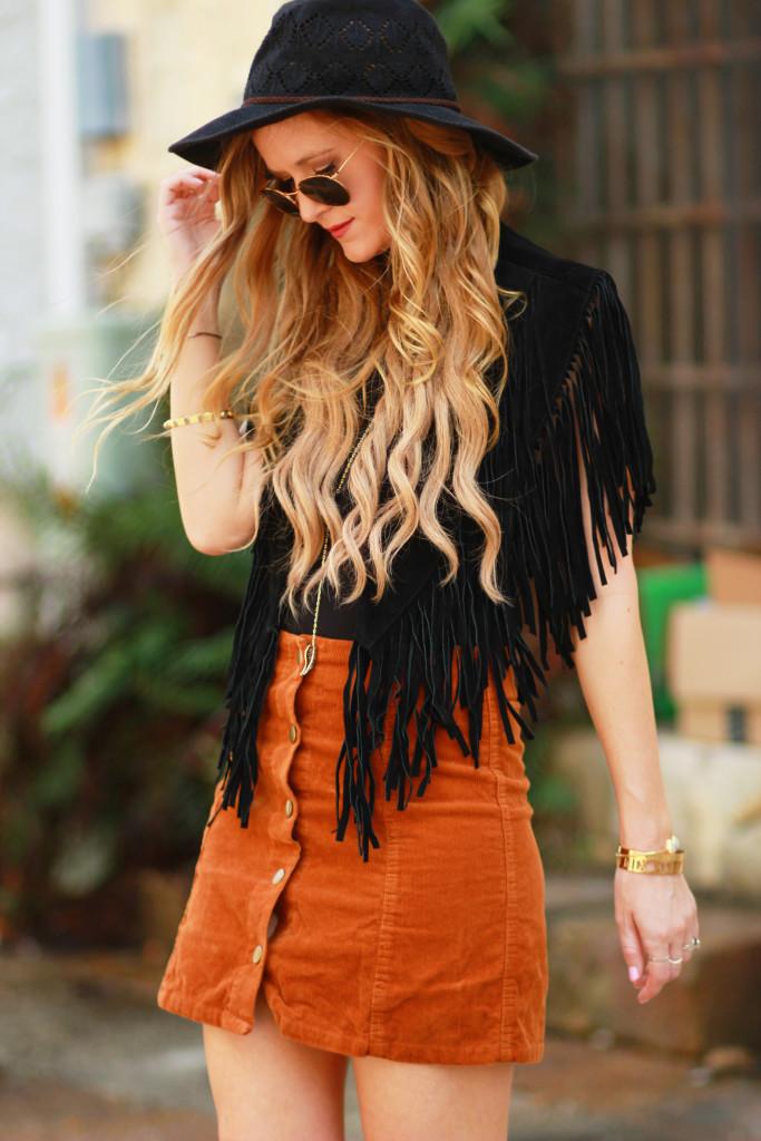 Orlando Florida fashion blog styles Madison & Berkely bodysuit with corduroy button up skirt, black fringe vest, round Ray Ban sunglasses for a boho outfit