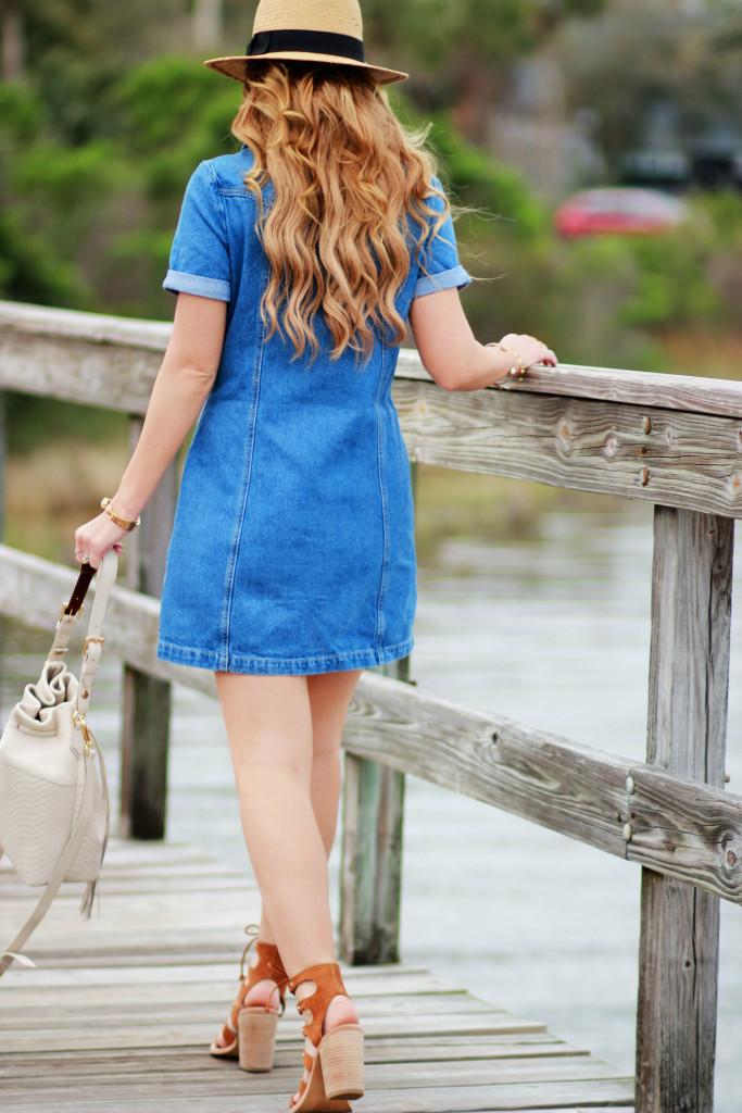 Bohoo lace up denim dress, Dolce Vita Lyndon sandals, Gigi New York bucket bag