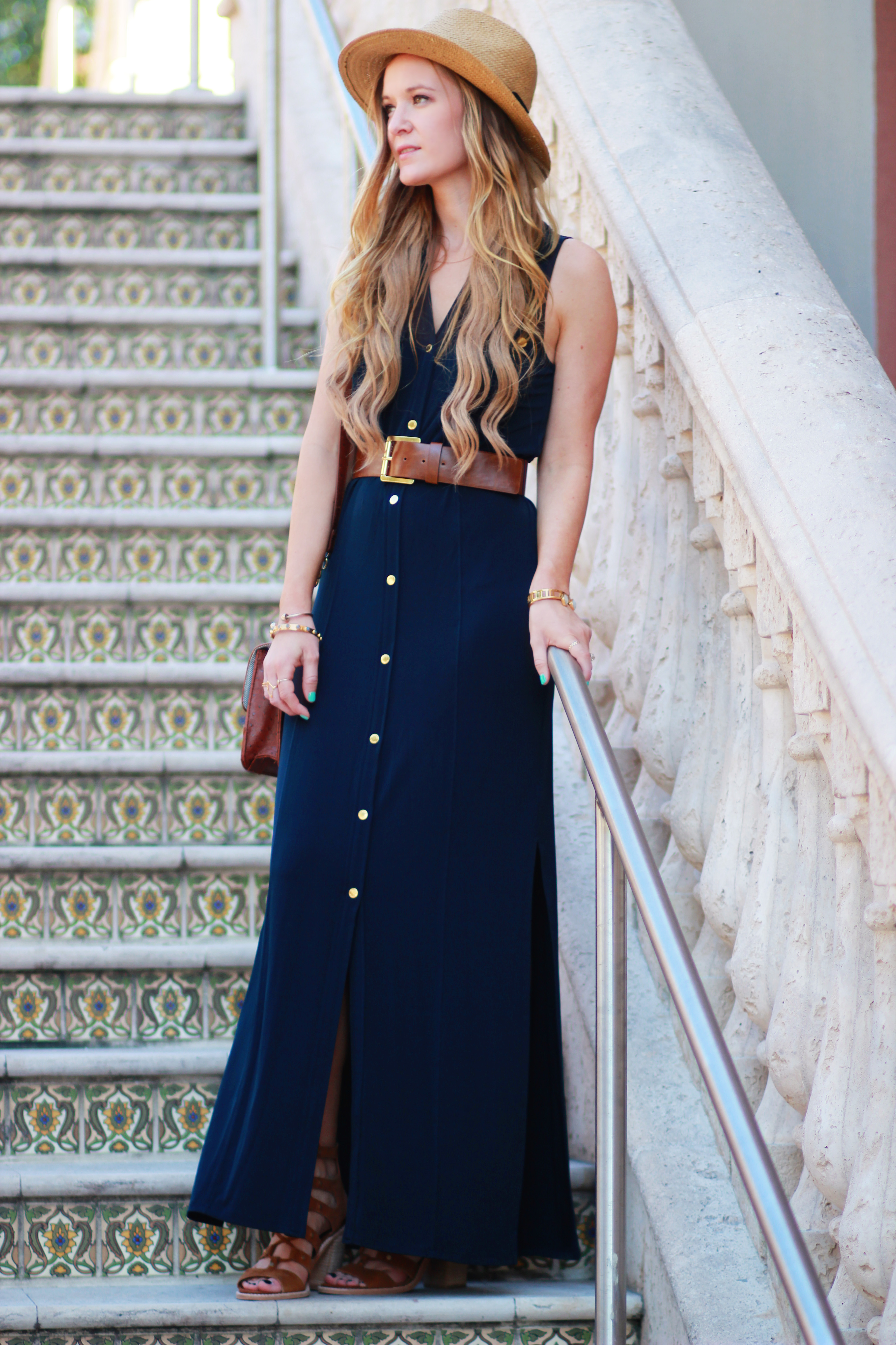 bb213f2b Michael Kors belted maxi dress, Dolce Vita lace up Lyndon heels for a  casual spring