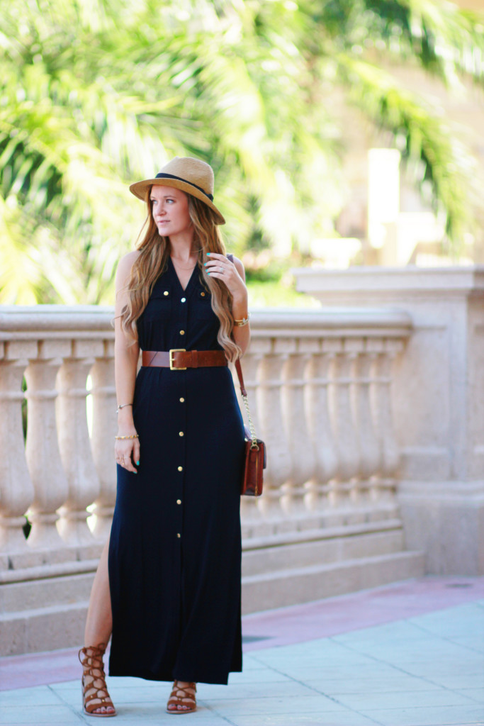 Michael Kors belted maxi dress, Dolce Vita lace up Lyndon heels for a casual spring outfit
